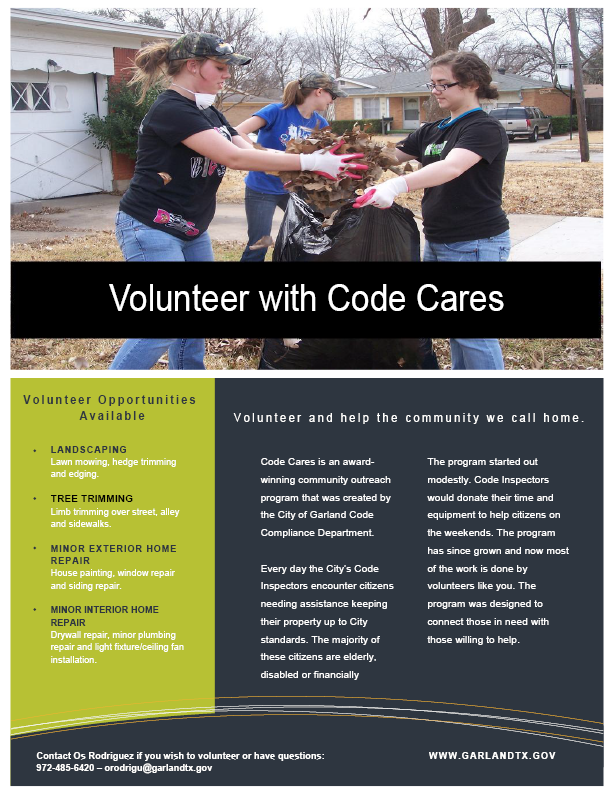 Volunteer with Code Cares Flyer (PDF)