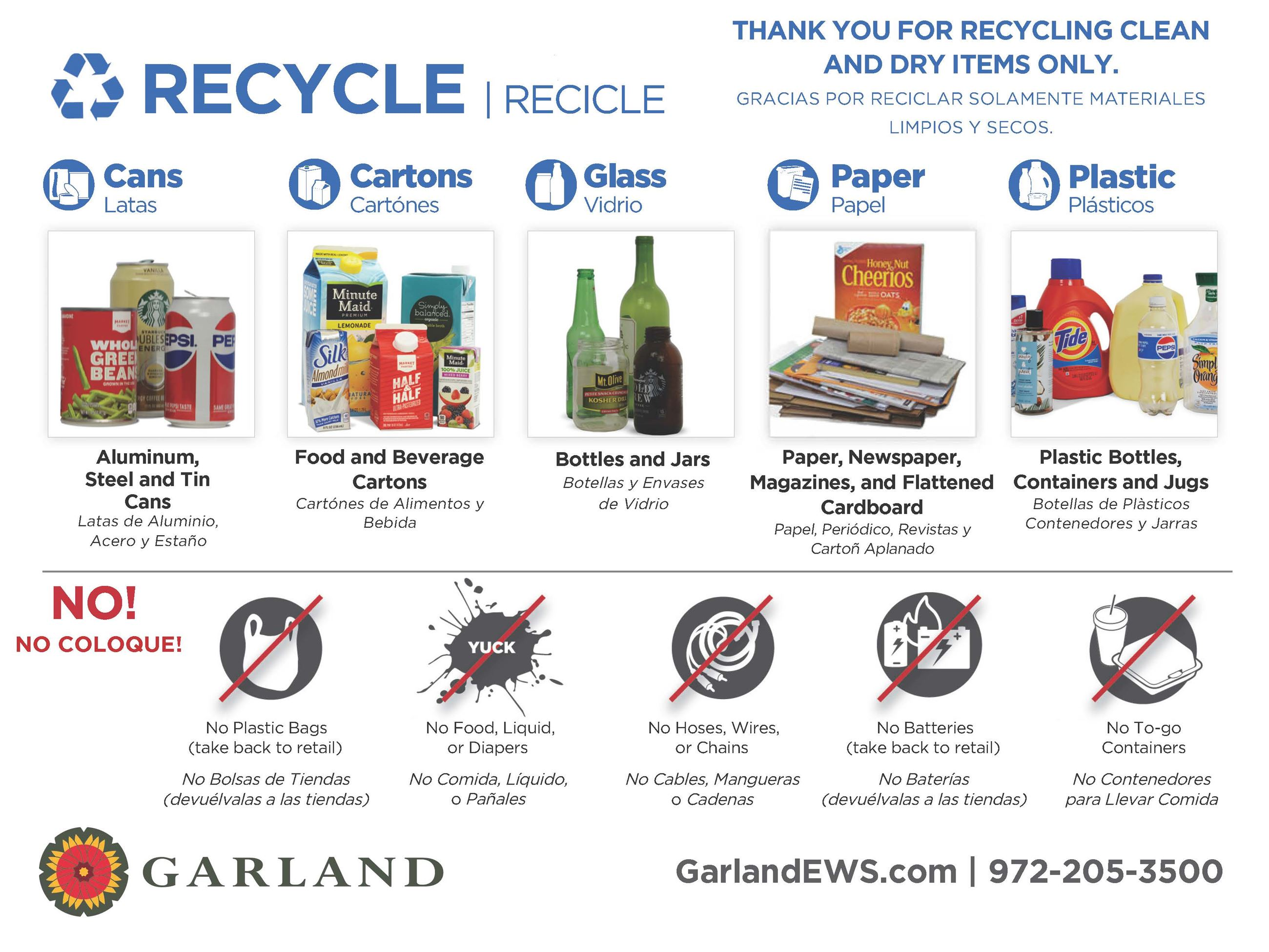 Below is a list of items that are recyclable in your blue recycling cart.