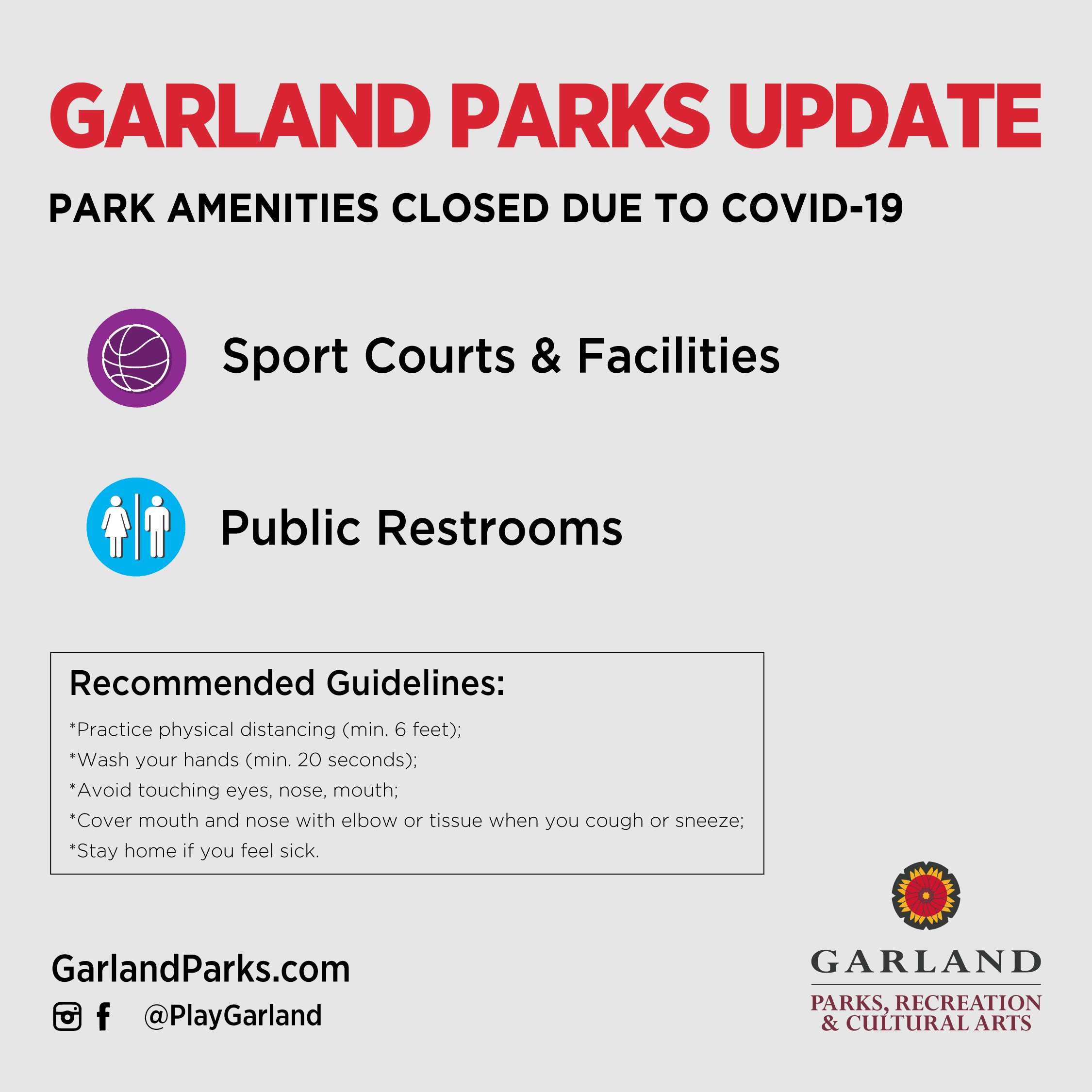 Parks Update April 3, 2020; Closure of all Sport Courts and Public Restrooms at all Parks due to COV