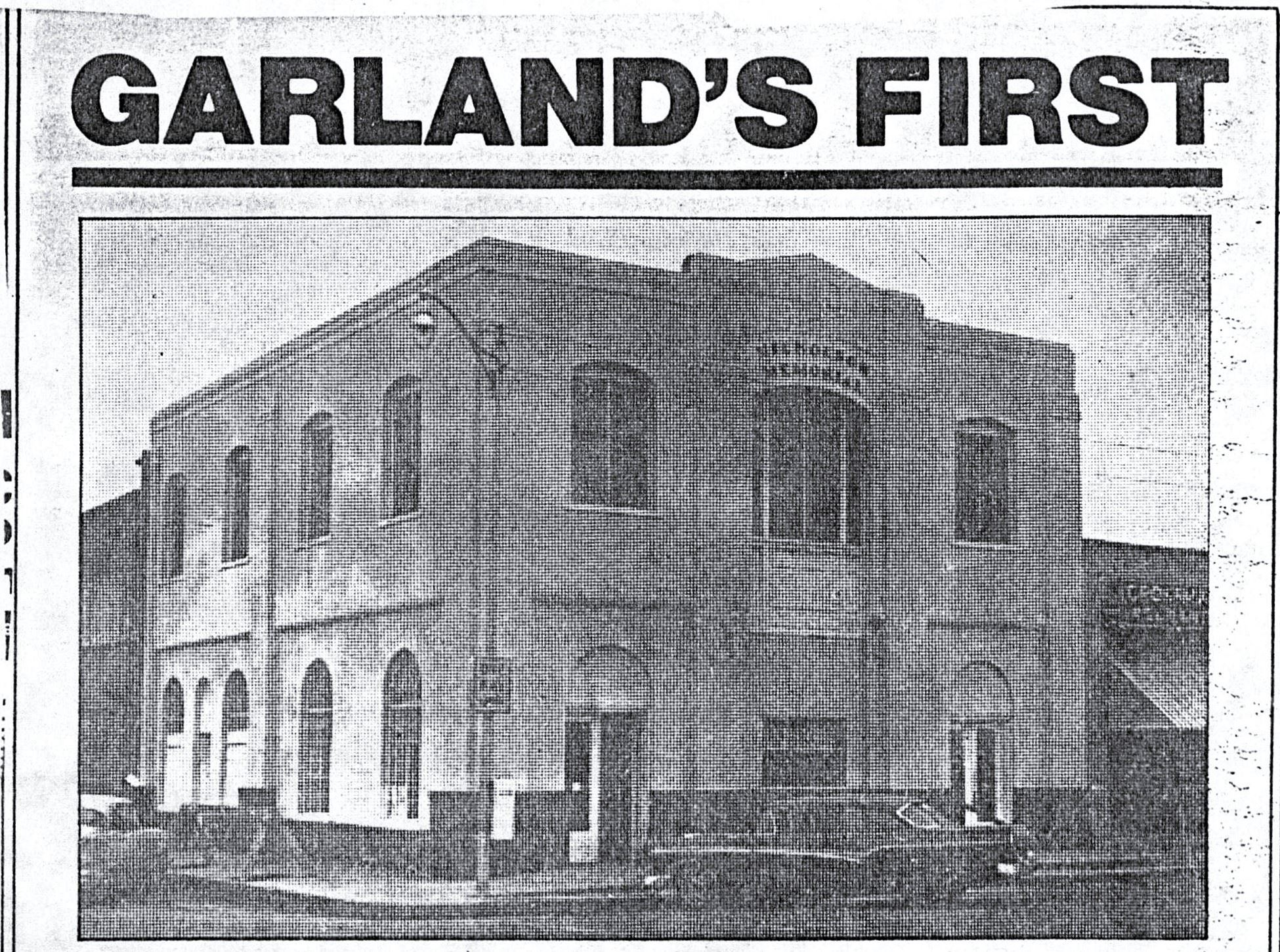 Picture of the first Garland Library - from the Garland newspaper