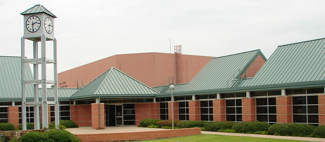 The exterior of Fields Recreation Center with clock tower